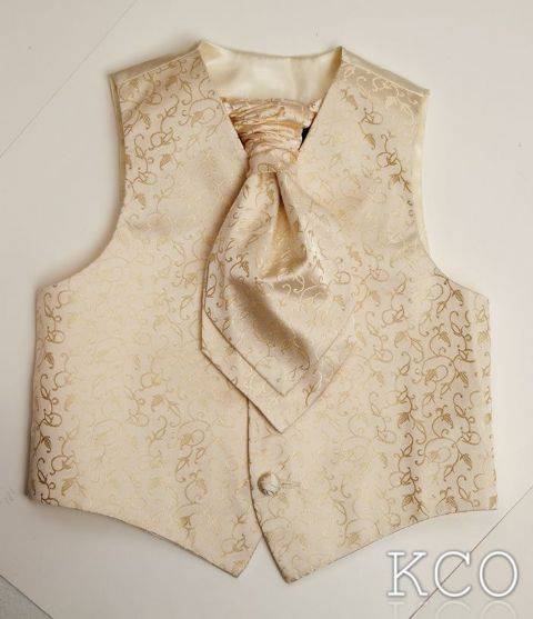 Brocade Waistcoat and Cravat~ Cream